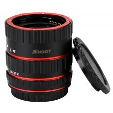 SHOOT Red Metal Auto Focus Macro Extension Tube Set for Canon SLR Cameras EF EF-S Lens
